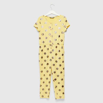 Spot Foil Print Jumpsuit with Cap Sleeves and Pocket Detail