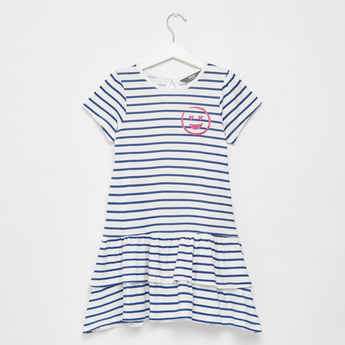 Striped Knee Length Dress with Round Neck and Cap Sleeves