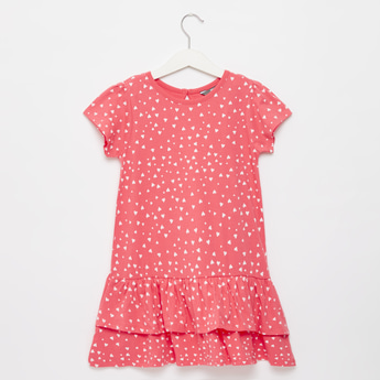 Heart Print Round Neck Mini Dress with Cap Sleeves