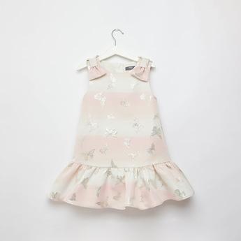 فستان جاكار دون أكمام بياقة مستديرة بفيونكة