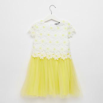 فستان بارز الملمس بأكمام كاب وتفاصيل شبكية