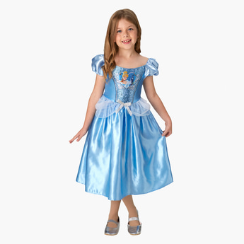 Cinderella Themed Midi Dress with Puff Sleeves and Bow Detail