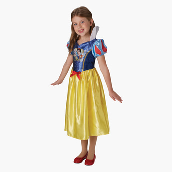 Snow White Themed Midi Dress with Puff Sleeves and Stylized Collar