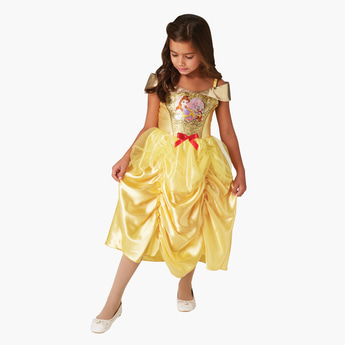 Princess Belle Themed Off Shoulder Midi Dress with Bow Detail