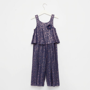 Foil Print Pleated Sleeveless Jumpsuit with Flower Applique Detail