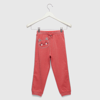 Full Length Embroidered Jog Pants with Drawstring