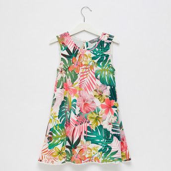 All-Over Print Sleeveless Trapeze Dress with Sequin Detail