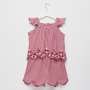 Gingham Checks Playsuit with Scalloped Hem