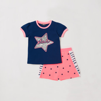 Star Sequin Detail T-shirt with Graphic Print Shorts