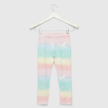 All-Over Unicorn Print Jeggings with Elasticised Waistband