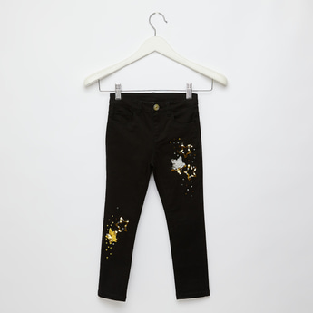 Star Sequin Detail Trousers with Button Closure and Pockets