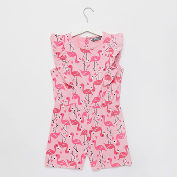 Flamingo Print Playsuit with Round Neck and Button Closure