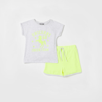 Unicorn Print Cap Sleeves T-shirt and Drawstring Detailed Shorts Set