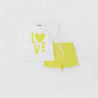 Printed Cap Sleeves T-shirt and Drawstring Detailed Shorts Set