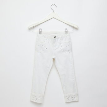 Embellished Trousers with Pockets and Button Closure