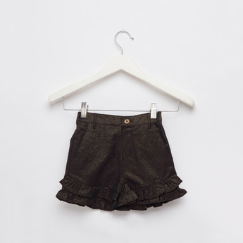 Textured Shorts with Pockets and Frilled Hems