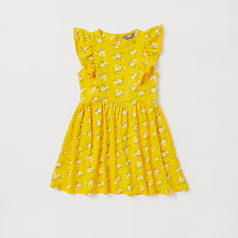 Floral Print Knee Length Dress with Ruffles and Round Neck