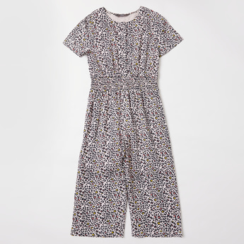 All-Over Animal Print Jumpsuit with Smocking Detail and Short Sleeves