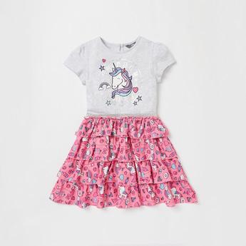Unicorn Print Knee Length Dress with Ruffles and Cap Sleeves