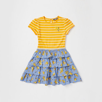 Striped Knee Length Dress with Ruffles and Short Sleeves