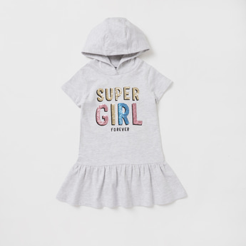 Typographic Print Embellished Sweat Dress with Short Sleeves and Hood