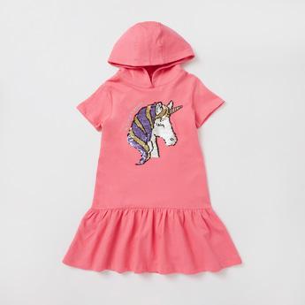 Unicorn Embellished Sweat Dress with Short Sleeves and Hood
