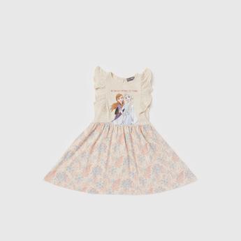 فستان دون أكمام بتفاصيل كشكشة وفتحة إغلاق وطبعات إلسا