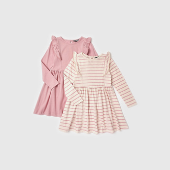 Set of 2 - Assorted Long Sleeves Dress with Ruffle Detail
