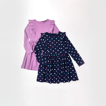 Set of 2 - Assorted Dress with Long Sleeves and Frill Detail