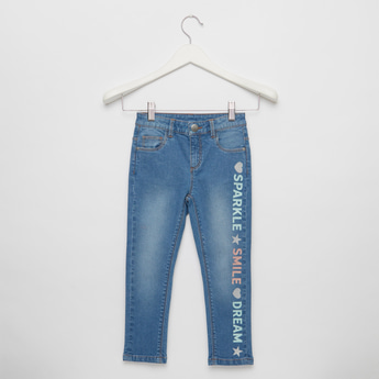 Slogan Print Full-Length Jeans with Button Closure and Pockets