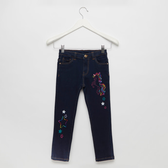 Unicorn Sequin Detail Jeans with Pocket Detail and Belt Loops