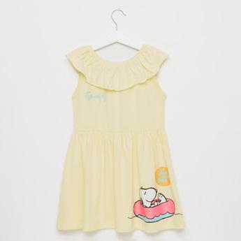 Snoopy Dog Print Knee-Length Dress with Round Neck