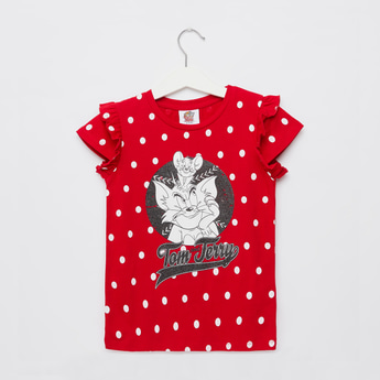 Tom and Jerry Graphic Print T-shirt with Cap Sleeves and Frill Detail