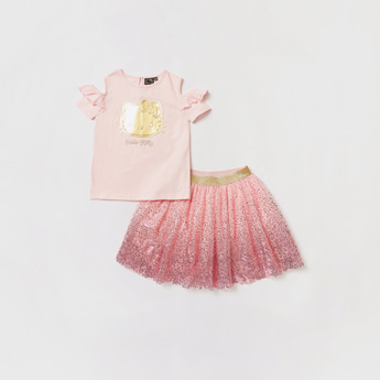 Hello Kitty Foil Print Cold Shoulder T-shirt with Mesh Detail Tutu Set