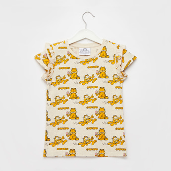 Garfield Print T-shirt with Round Neck and Cap Sleeves