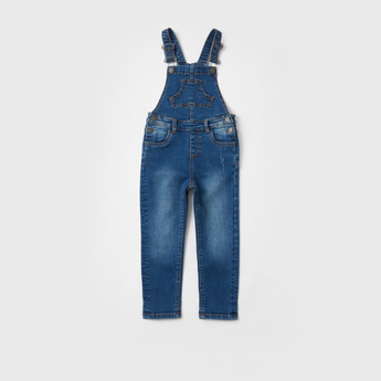 Solid Denim Dungarees with Pocket Detail and Buckle Closure