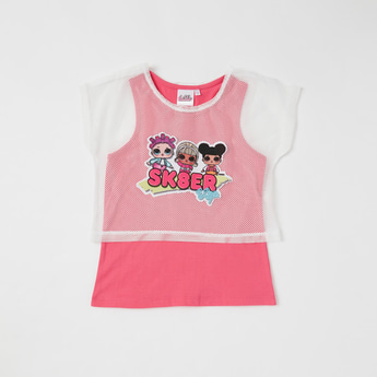 L.O.L Surprise! Graphic Print 2-in-1 T-shirt with Mesh Detail