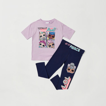 L.O.L. Surprise! Graphic Print Short Sleeves T-shirt and Leggings Set