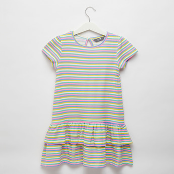 Striped Tiered Dress with Round Neck and Cap Sleeves