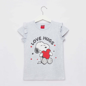 Snoopy Print T-shirt with Round Neck and Cap Sleeves