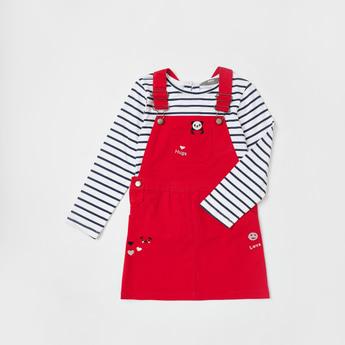 Striped Long Sleeves T-shirt and Pinafore Set