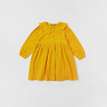 Schiffli Detail Dress with Collar and Long Sleeves