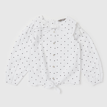 All-Over Polka Dot Print Top with Knot and Bow Detail