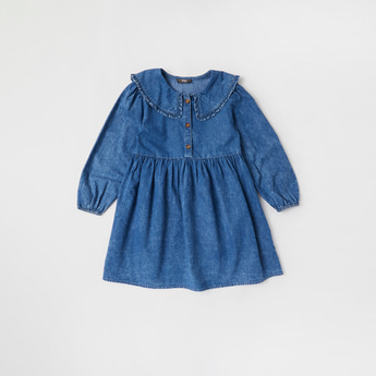 Solid Denim Dress with Collar and Long Sleeves