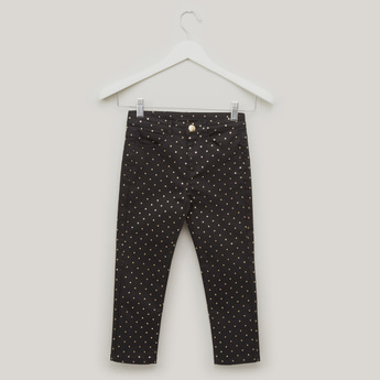 Print Jeans with Belt Loops and Pocket Detail