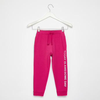 Full Length Typographic Print Jog Pants with Drawstring Closure