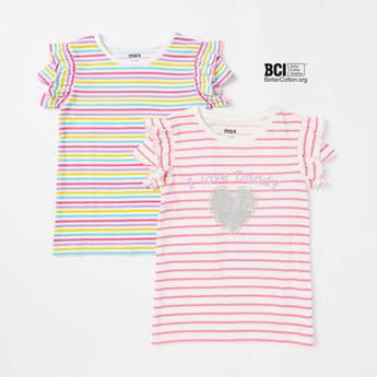 Pack of 2 - Striped T-shirt with Round Neck and Cap Sleeves