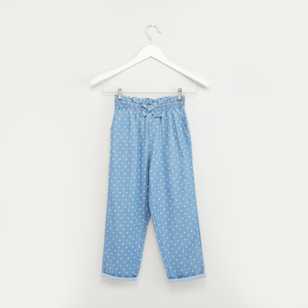 Polka Dots Printed Pants with Pocket Detail and Bow Applique