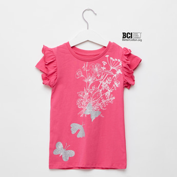 Floral Printed T-shirt with Round Neck and Butterfly Glitter Detail