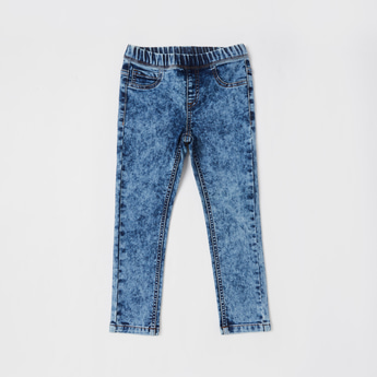 Solid Jeggings with Elasticised Waistband and Pockets